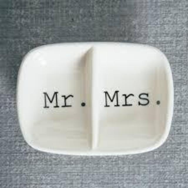 917d35338c Creative Co-Op Ceramic 2 Section Mr. and Mrs. Ring Dish